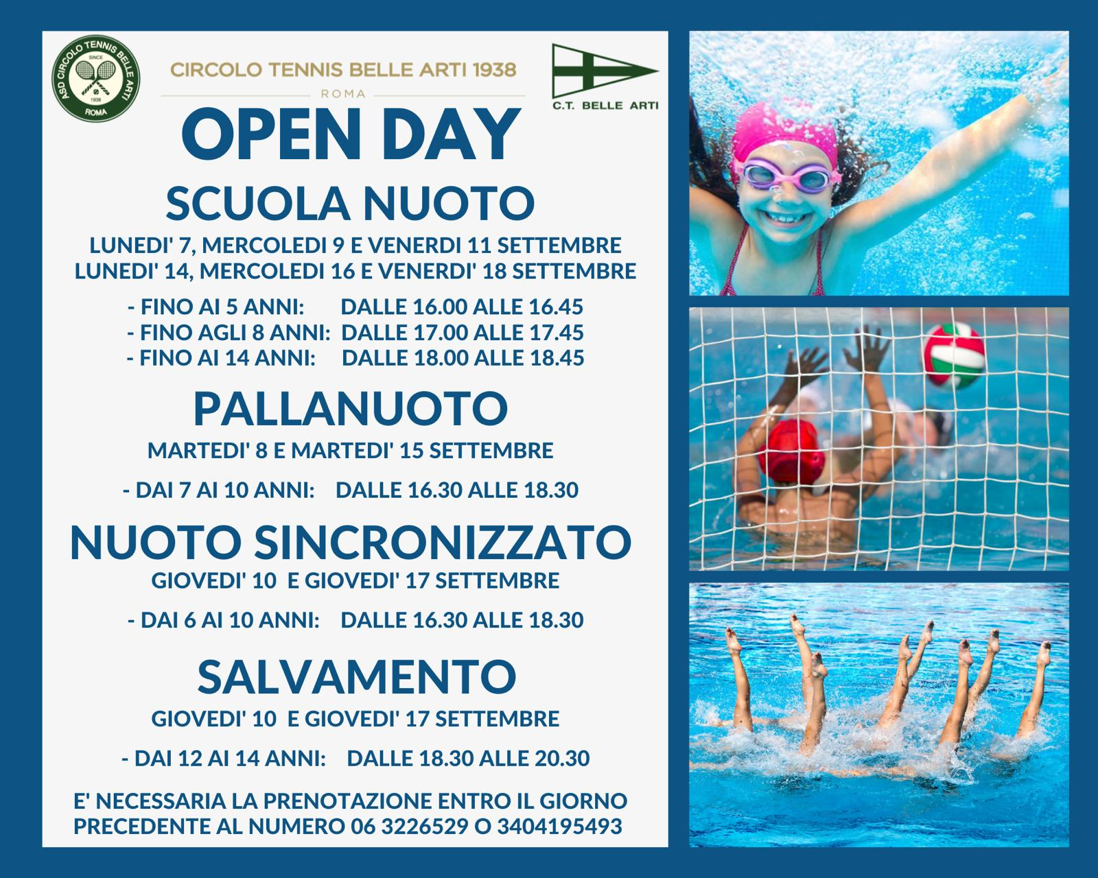open day piscina locandina
